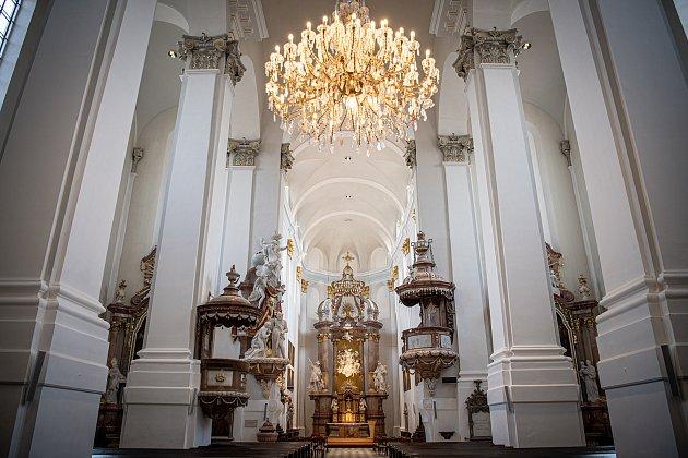 Konkatedrála Nanebevzetí Panny Marie po opravách, 20.dubna 2021vOpavě. Oprava začala loni na jaře stát téměř 77milionů korun.