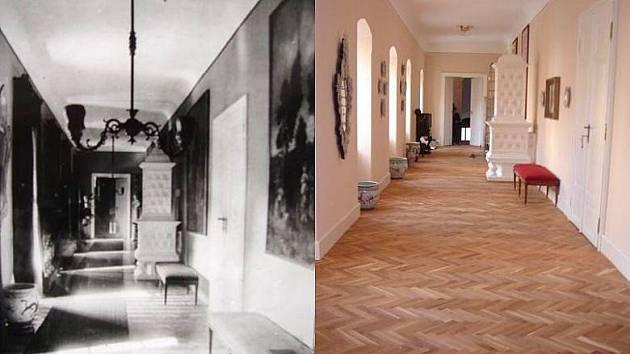 Velká předsíň v roce 1902 a dnes.