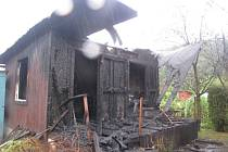 Požár chatky v zahrádkářské osadě Zátiší.