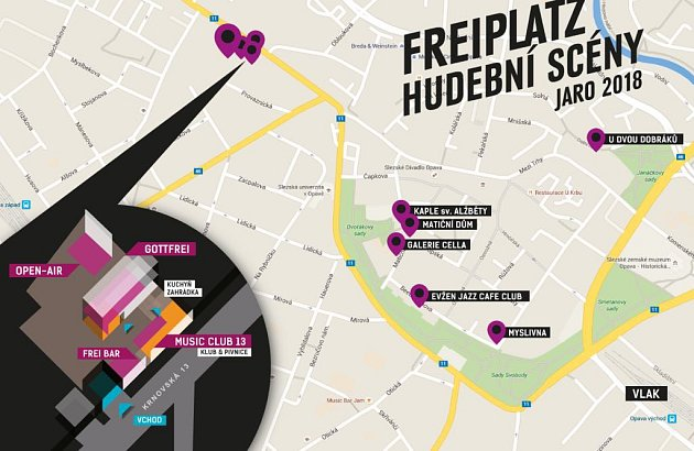 Místní kluby se vpátek 25.a sobotu 26.května zapojí formou koncertů, poslechových a tanečních večírků a soutěží do hudebního festivalu FreiPlatz.