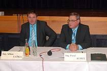 Nový starosta Hlučína Pavol Kubuš (vpravo) a místostarosta Alfons Laňka.