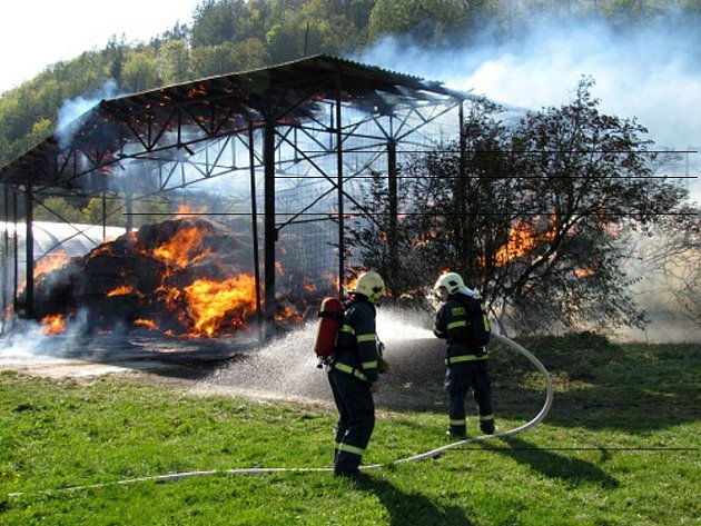 Požár seníku v Hradci nad Moravicí.