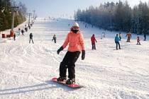 Takto se na Vaňkově kopci lyžovalo před několika dny. Byly ideální podmínky.