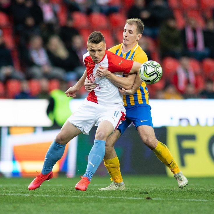 Zápas fotbalové FORTUNA:LIGY mezi SK Slavia Praha a SFC Opava, 22. února 2020.