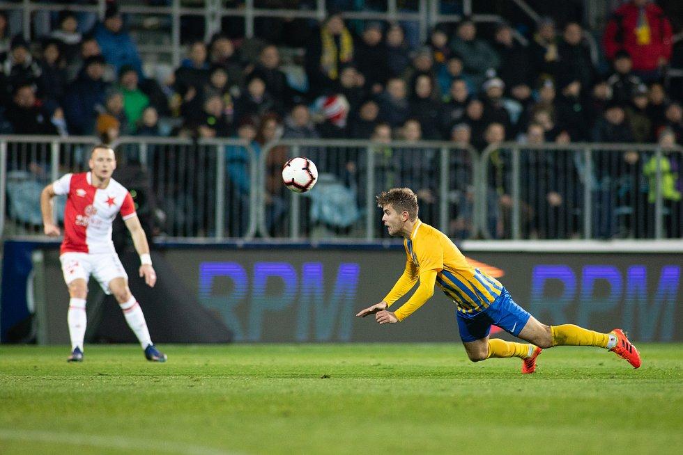 Opava - Zápas 17. kola FORTUNA:LIGY mezi SFC Opava a SK Slavia Praha 3. prosince 2018 na Městském stadionu v Opavě. Tomáš Jursa (SFC Opava).