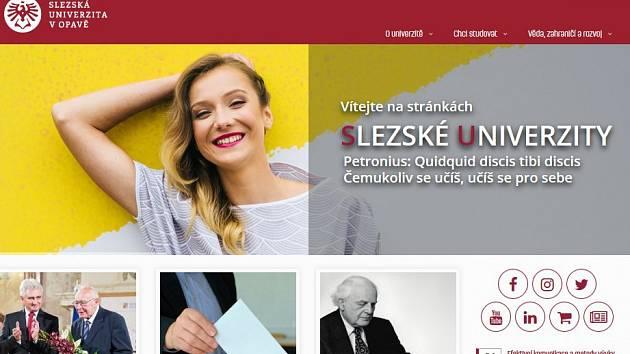 Úvodní stránka webu opavské univerzity.