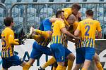 Opava - Zápas fotbalové FORTUNA:LIGY mezi SFC Opava a SK Sigma Olomouc 13. dubna 2019. Opava gól, radost.