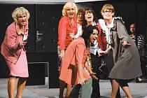 Rozdováděné sekretářky: zprava Šárka Vykydalová (Veronika), Hana Vaňková (Klára), Ludmila Štědrá (Marie), Ivana Lebedová (Dáša) a Kamila Srubková (Soňa), vpředu Sabina Muchová (Iveta).