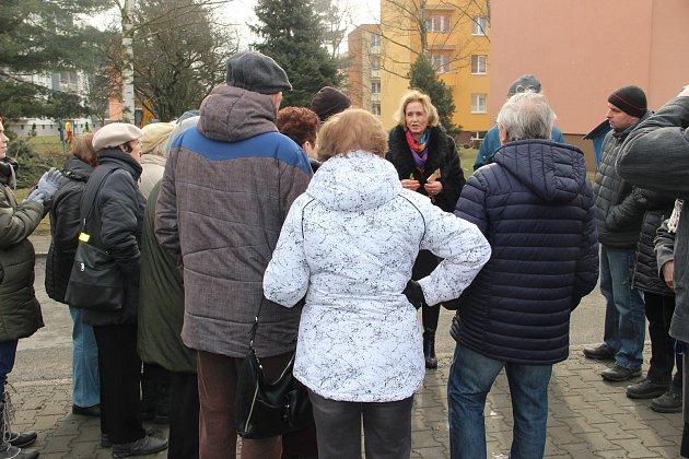 Občané Hlučína protestovali proti kácení stromů ve vnitrobloku mezi ulicemi Tyršova, Komenského a Zahradní.