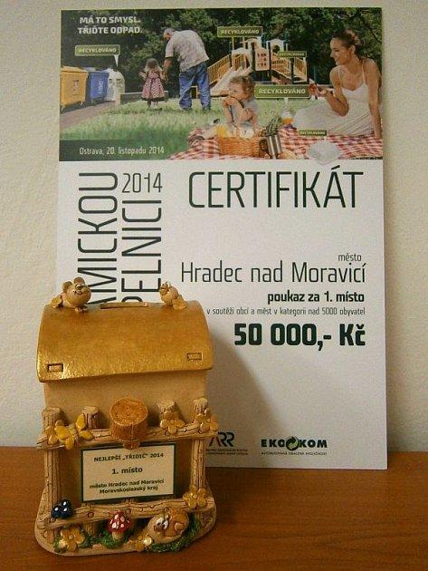 Ve třídění papíru, plastu, skla a nápojového kartonu v kategorii nad pět tisíc obyvatel s přehledem zvítězil Hradec nad Moravicí.