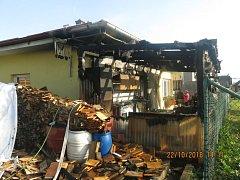 Následky požáru v Pusté Polomi