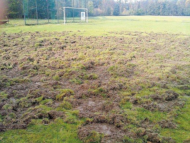 Spoušť v Kyjovicích způsobila divoká prasata, která znemožnila fotbalistům odehrát poslední mistrovské zápasy.