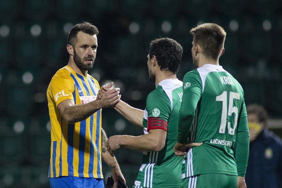 Opava - Dohrávka zápasu 14. kola FORTUNA:LIGY mezi Bohemians Praha 1905 a SFC Opava 27. ledna 2021. Jan Žídek (SFC Opava).