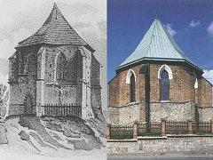 Podoba kaple z doby před rokem 1840 a ta současná.