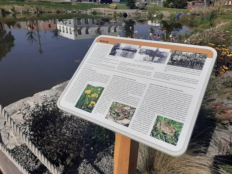 Náves ve Služovicích a zrevitalizovaný rybník.
