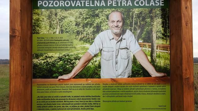 Informační panel u Pozorovatelny Petra Čolase.