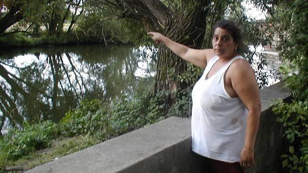 TAMSE TO STALO. Růžena Kostková ukazuje místo, kde osmiletá Jessika spadla do vody.
