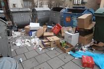 Jiří Týn zachytil, jak to u kontejnerů na dvorku za jeho domem vypadalo, když z nich byly vyházeny odpadky.