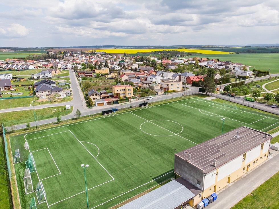 Letecký pohled na Chlebičov.