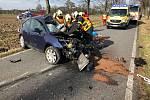 Zásah hasičů u nehody v Šilheřovicích.