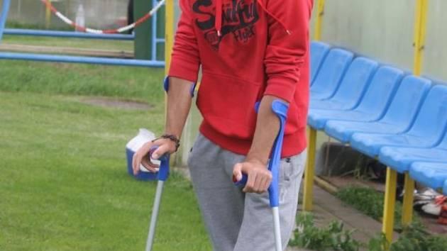 Zraněný opavský obránce Luboš Horka sledoval sobotní přípravu jako divák.