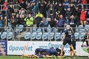 Utkání 15. kola druhé fotbalové ligy (Fortuna národní liga): SFC Opava vs. FC Hradec-Králové, 17. listopadu v Opavě. Radost Opav.