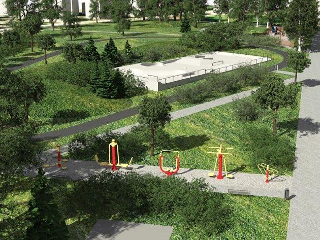 Jedna z variant parku, která počítá se skateparkem a také okruhem pro in-line bruslaře.