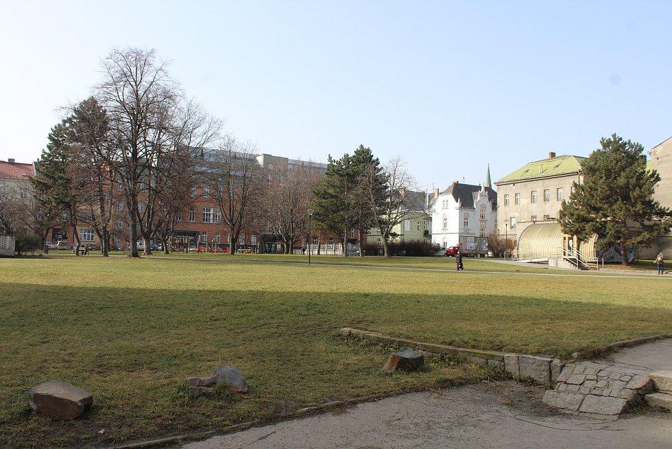 Bývalý obchodní sům Slezanka v centru Opavy. Prostor za Slezankou.