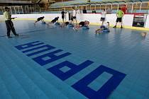 Páteční trénink opavských hokejistů.
