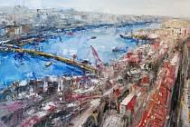 S tímto výhledem na Istanbul se můžete setkat na výstavě Martina Květa ve Slezském divadle. Jedná se o olej na plátně.