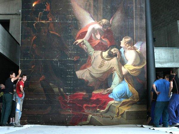 Zavražděný Václav, prchající bratrovrah Boleslav, kolem andělé, kteří patrona země české zvedají knebi. Tak lze ve zkratce popsat výjev na jednom znejvětších tuzemských obrazů – oleji na plátně zroku 1844od malíře Antona Pettera.