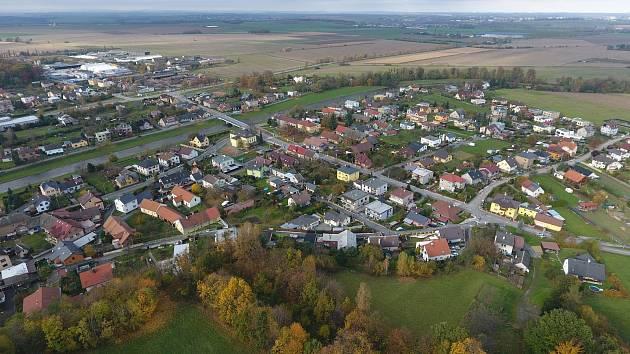 Letecký pohled na Branku u Opavy.