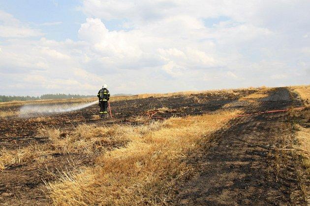 Požár pole vLesních Albrechticích na Opavsku.