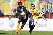 Zápas 26. kola Fortuna národní ligy SFC Opava - FK Dynamo České Budějovice 5. května 2018 v Opavě. Joel Ngandu Kayamba - o.