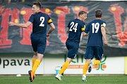 Zápas 26. kola Fortuna národní ligy SFC Opava - FK Dynamo České Budějovice 5. května 2018 v Opavě. Opava gól, David Puškáč.