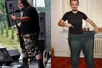 Na začátku proměny vážil Ondřej Šebestík 155 kilogramů. V současnosti (snímek vpravo) je téměř poloviční.