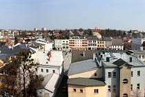 Pohled na Hlučín z věže kostela.