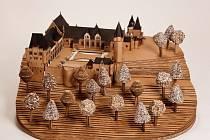 Lepenkový model zámku v Hradci nad Moravicí.