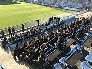 Cvičení policistů k derby Opava vs. Baník. Na stadionu v Městských sadech v Opavě bylo v úterý 6. listopadu rušno.