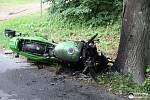 Dvě jednotky hasičů spolu s dalšími složkami IZS zasahovaly v sobotu u těžké dopravní nehody motocyklu mezi Bohučovicemi a Chvalíkovicemi.