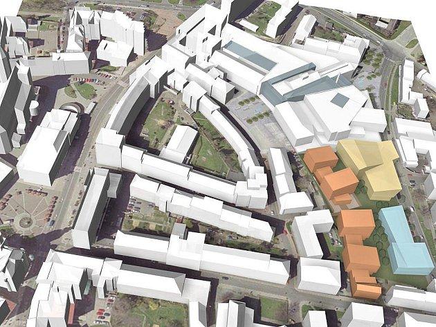 Slezský dvůr, vizualizace projektu. Světlemodře zvýrazněná část představuje komerční zástavbu, oranžová rezidenční výstavbu a okrová znázorňuje zamýšlené multifunkční zařízení.
