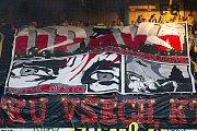Zápas 26. kola Fortuna národní ligy SFC Opava - FK Dynamo České Budějovice 5. května 2018 v Opavě. Transparent, choreo, 2. světová válka