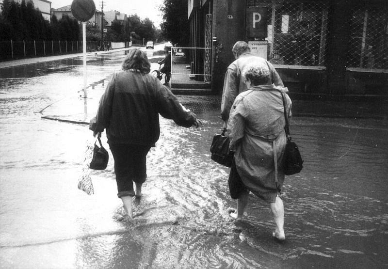 Centrum Háje ve Slezsku. Zde naštěstí voda tolik problémů nezpůsobila.