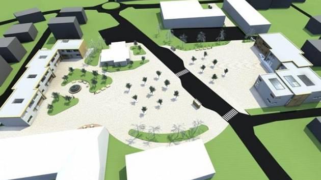 Vizualizace možného řešení nového centra obce v Bolaticích.