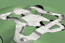 Vrbenský skatepark by měl mít tuto podobu, která zahrnuje osm set osmdesát metrů čtverečních betonové plochy.