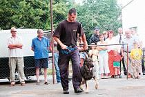 Podmínky soutěže odpovídaly skutečnosti v reálném životě. Na fotografii je pes Hor se svým psovodem Hertlem.