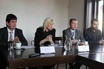 Vedení Slezského muzea. Zleva Radim Vedra, ředitelka Jana Horáková, Petr Jordán a Ivan Berger.