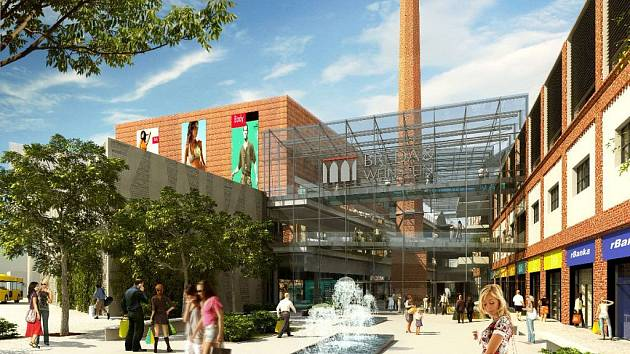 Komplex s obchody. To je vizualizace obchodního centra, které vyroste v prostorách bývalého opavského pivovaru.
