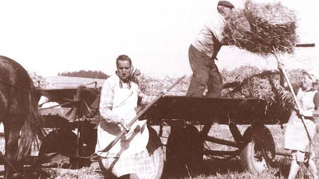 Většina polních prací se v šedesátých letech dělala ručně, dopravním prostředkem byl koňský vůz.