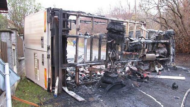 Tři jednotky hasičů zasahovaly v pondělí ráno u požáru dvou vozidel, který vznikl po jejich srážce a úniku paliva z dodávkového automobilu Renault Mascott.